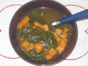 Vegan Soul Kitchen Mustard Green and Roasted Yam Soup