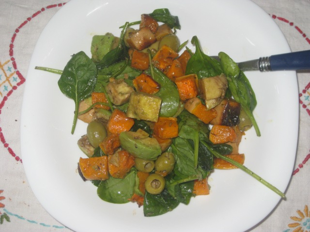 Deliciously Ella Roasted Squash Avocado Olive Rocket Salad
